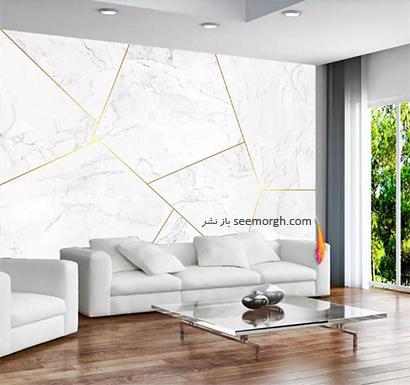 کاغذ دیواری طرح سنگ با ترکیب رنگ طوسی روشن و سفید و طلایی,کاغذ دیواری طرح سنگ، جدیدترین مدل کاغذ دیواری در دکوراسیون
