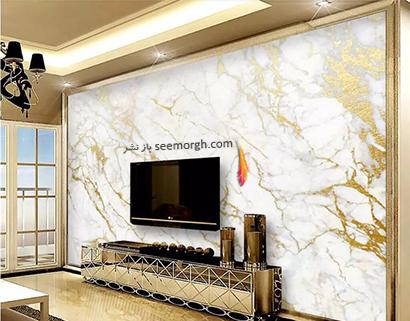 کاغذ دیواری طرح سنگ با ترکیب رنگ طلایی و سفید,کاغذ دیواری طرح سنگ، جدیدترین مدل کاغذ دیواری در دکوراسیون