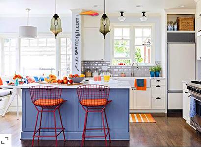 ست کردن آبی به رنگ آبی جین با نارنجی روشن,در دکوراسیون داخلی چه رنگ هایی را می توانیم با رنگ آبی ست کنیم؟,9 ترکیب زرق و برق دار با رنگ آبی برای دکوراسیون داخلی
