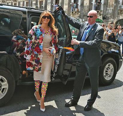 پالتو پاییزی گل دار به سبک ملانیا ترامپ Melania Trump,بهترین پالتو های پاییزی ملانیا ترامپ Melania Trump,پالتو,پالتو پاییزی,مدل پالتو