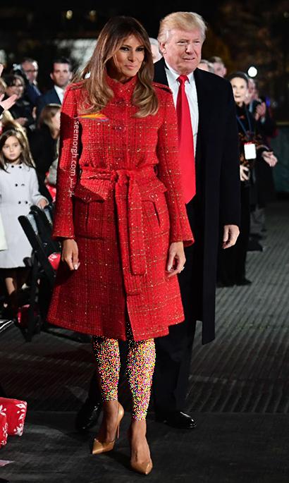 پالتو پاییزی طرح دار قرمز به سبک ملانیا ترامپ Melania Trump,بهترین پالتو های پاییزی ملانیا ترامپ Melania Trump,پالتو,پالتو پاییزی,مدل پالتو