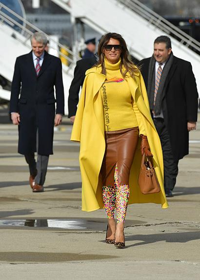 پالتو پاییزی زرد به سبک ملانیا ترامپ Melania Trump,بهترین پالتو های پاییزی ملانیا ترامپ Melania Trump,پالتو,پالتو پاییزی,مدل پالتو