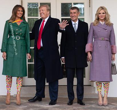 پالتو پاییزی چرم سبز به سبک ملانیا ترامپ Melania Trump,بهترین پالتو های پاییزی ملانیا ترامپ Melania Trump,پالتو,پالتو پاییزی,مدل پالتو