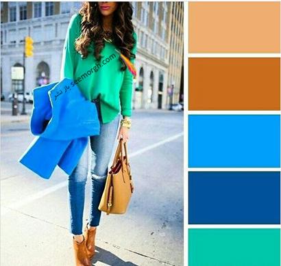 ست کردن رنگ آبی برای پاییز 2020 - مدل شماره 3,ست کردن لباس برای پاییز,ست کردن لباس رنگی برای پاییز