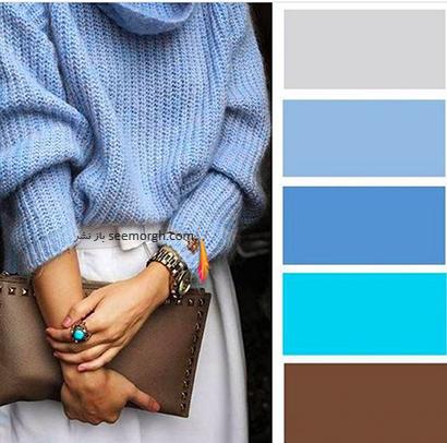 ست کردن رنگ آبی برای پاییز 2020 - مدل شماره 2,ست کردن لباس برای پاییز,ست کردن لباس رنگی برای پاییز