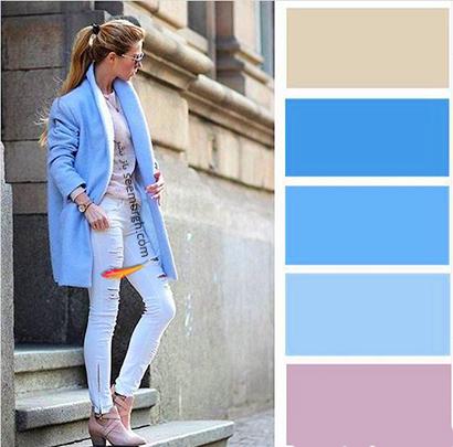 ست کردن رنگ آبی برای پاییز 2020 - مدل شماره 11,ست کردن لباس,ست کردن لباس برای پاییز,ست کردن لباس رنگی برای پاییز