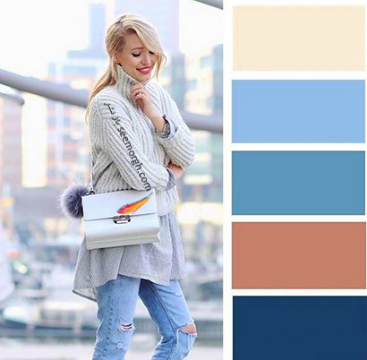 ست کردن رنگ آبی برای پاییز 2020 - مدل شماره 1,ست کردن لباس,ست کردن لباس برای پاییز