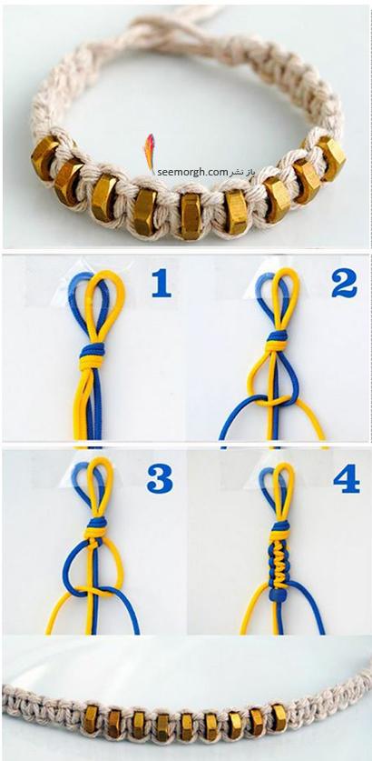 آموزش تصویری بافت دستبند با مهره,آموزش تصویری بافت 3 مدل دستبند پرطرفدار,آموزش بافت 3 مدل دستبند در خانه
