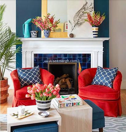 ست کردن رنگ سورمه ای با رنگ قرمز گیلاسی در دکوراسیون داخلی,در دکوراسیون داخلی چه رنگ هایی را می توانیم با رنگ آبی ست کنیم؟,9 ترکیب زرق و برق دار با رنگ آبی برای دکوراسیون داخلی