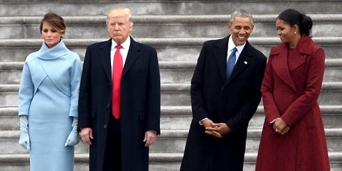 ترامپ و اوباما در کنار همسرانشان