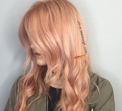 رنگ مو رزگلد روشن با تم نارنجی,رنگ مو رزگلد، پرطرفداترین رنگ مو برای پاییز 2020