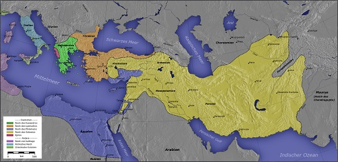 نقشه امپراتوری سلوکی پیش از شکست سلوکوس از چاندره گوپتا