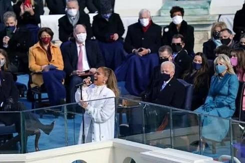 اجرای جنیفر لوپز در مراسم تحلیف جو بایدن