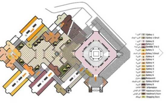 نقشه هوایی موزه هنرهای معاصر و استفاده از مربع بدون گوشه برای طراحی هویت بصری جدید