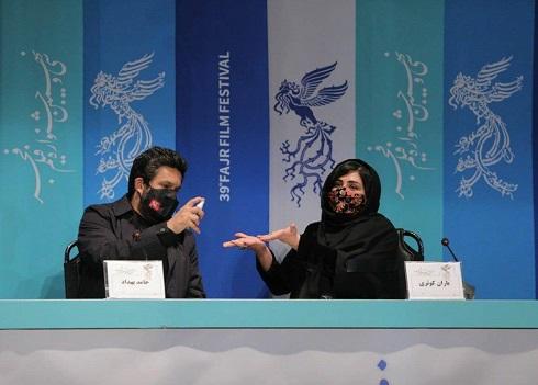 حرکت بهداشتی باران کوثری و حامد بهداد در جشنواره