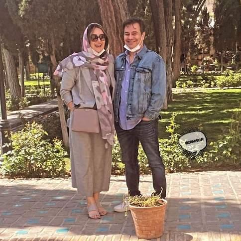 پیمان قاسم خانی در کنار همسر میترا ابراهیمی