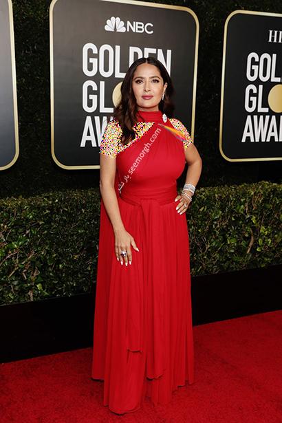 بهترین مدل لباس در گلدن گلوب Golden Globes 2020 - سلما هایک Salma Hayek,مدل لباس,مدل لباس در گلدن گلوب,بهترین مدل لباس,بهترین مدل لباس در گلدن گلوب 2021