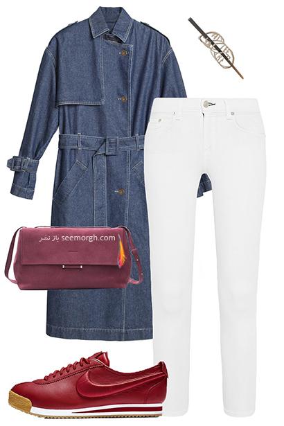 ست کردن شلوار جین سفید برای پیاده روی های روزانه