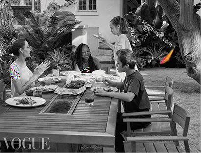 عکس های مجله ووگ از آنجلینا جولی Anjelina Jolie درون خانه اش با فرزندانش