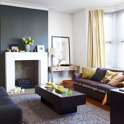 با رنگ های تیره کنتراست ایجاد کنید,دکوراسیون اتاق نشیمن به رنگ سال با 6 ایده جالب و زیبا