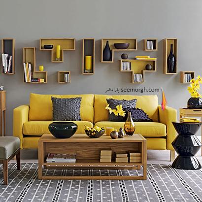 از هر رنگ به صورت تکی استفاده کنید,دکوراسیون اتاق نشیمن به رنگ سال با 6 ایده جالب و زیبا