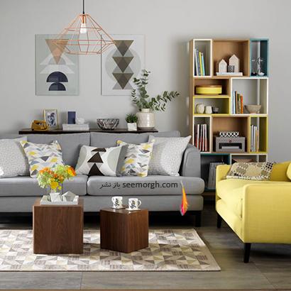 الکوهای هندسی را به ترکیب رنگی زرد و طوسی اضافه کنید,دکوراسیون اتاق نشیمن به رنگ سال با 6 ایده جالب و زیبا