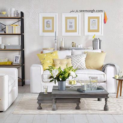 از سایه های روشن رنگ خاکستری و زرد استفاده کنید,دکوراسیون اتاق نشیمن به رنگ سال با 6 ایده جالب و زیبا