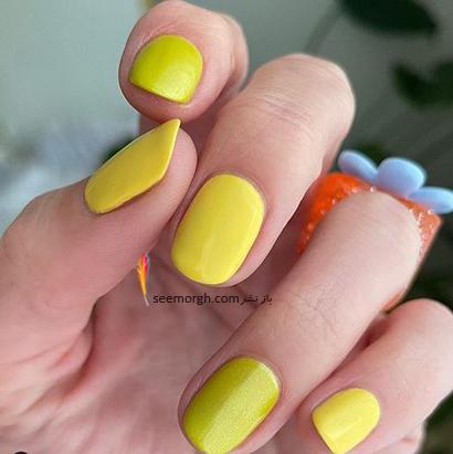 زرد تیره، رنگ لاک ناخن مد شده برای بهار 2021