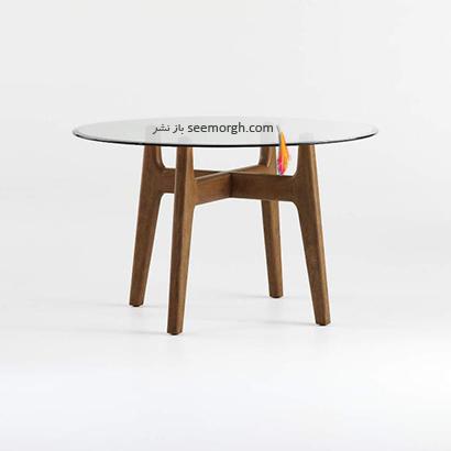 میز ناهارخوری ترکیبی شیشه و چوب با رویه متحرک,9 مدل میز ناهارخوری برای فضاهای کوچک,میز ناهارخوری برای فضاهای کوچک,میز ناهارخوری برای آپارتمان های کوچک