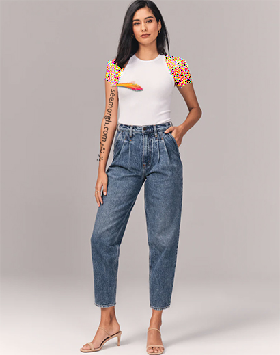شلوار جین مام استایل از برند Abercrombie & Fitch, 7 مدل برتر شلوار جین مام استایل در دنیای مد 2021