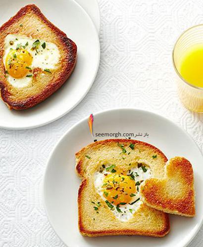 تزیین نان صبحانه به شکل قلب
