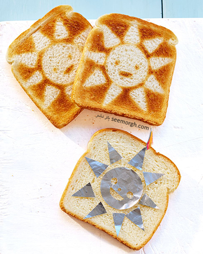 تزیین نان تست صبحانه به شکل خورشید