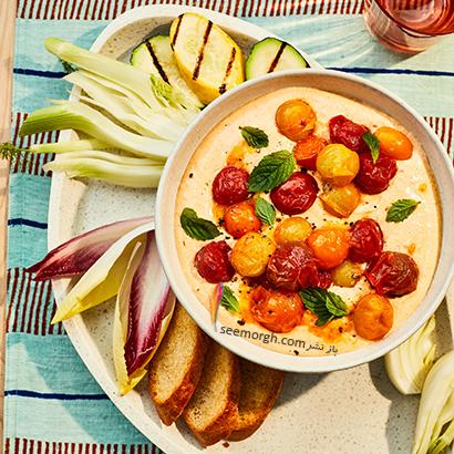 طرز تهیه دیپ پنیر و گوجه