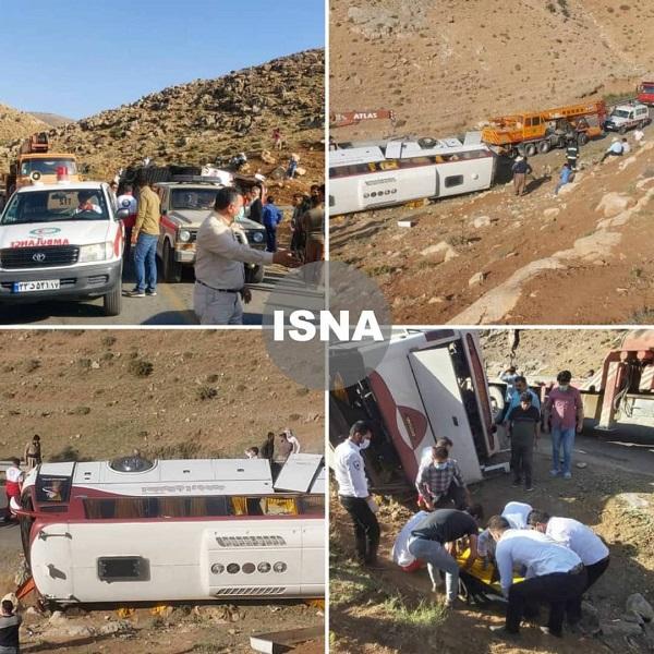 2 کشته و 21 مصدوم در واژگونی اتوبوس خبرنگاران