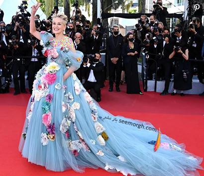 بهترین مدل لباس در جشنواره کن 2021 Cannes - شارون استون Sharon stone