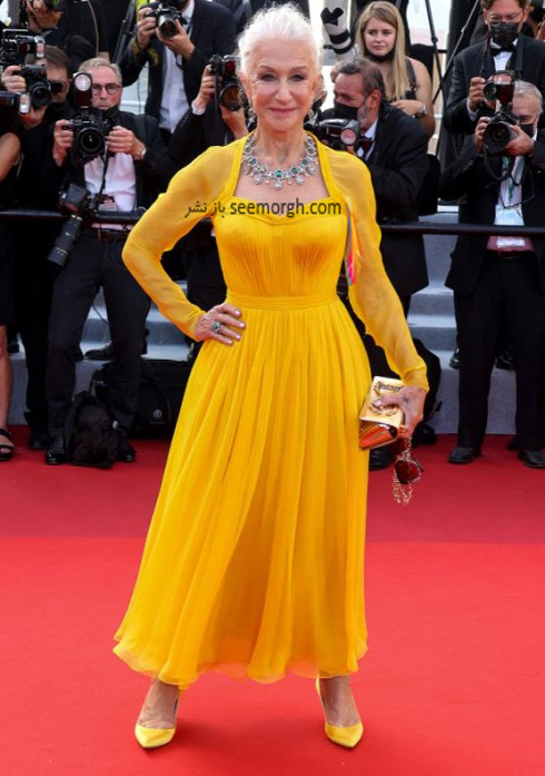 هلن میرن Helen Mirren روی فرش قرمز جشنواره فیلم کن 2021