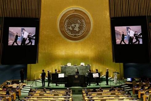 اجرای اعضای گروه بی تی اس در سازمان ملل