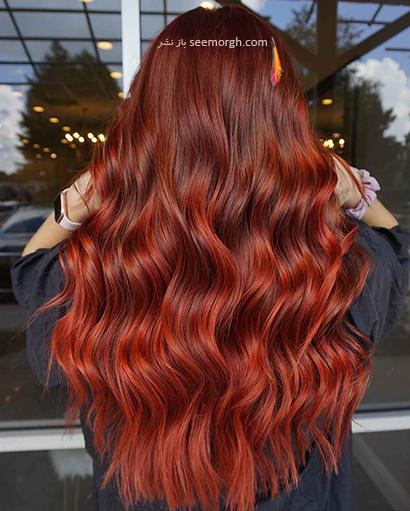رنگ مو پاییز 2021 - رنگ مو قرمز کهربایی