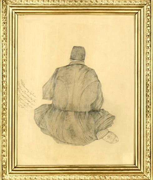 سیاه قلم ناصرالدین شاه از استاد خود، صنیع الملک