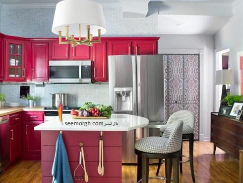 دکوراسیون آشپزخانه به رنگ سرخابی