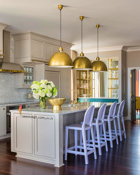دکوراسیون آشپزخانه با رنگ سفید چرک ( ترکیب خاکستری و بژ )