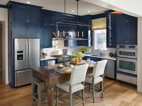 دکوراسیون آشپزخانه به رنگ آبی پر رنگ ( آبی نیروی دریایی )
