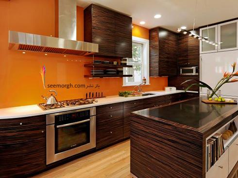 دکوراسیون آشپزخانه به رنگ نارنجی