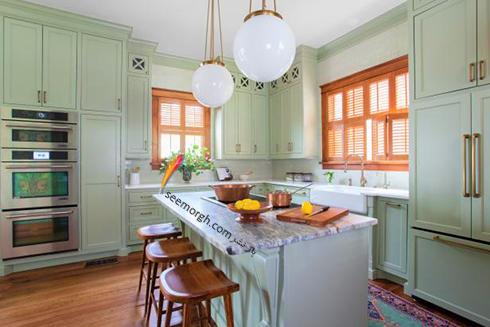 دکوراسیون آشپزخانه به رنگ سبز روشن
