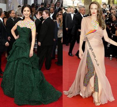 کاترین زیتا جونز Catherine Zeta Jone و آنجلیا جولی Anjelina Jolie اندام سیبی شکل دارند
