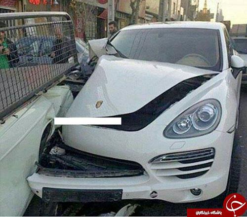 عکس: تصادف شدید پورشه با پیکان وانت
