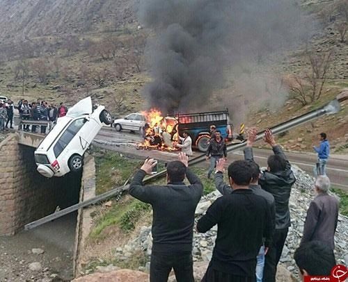 راننده نیسان در آتش سوخت +عکس (18+)
