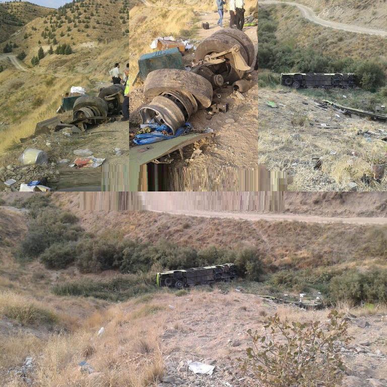 سقوط اتوبوس مسافربری در دره جاجرود