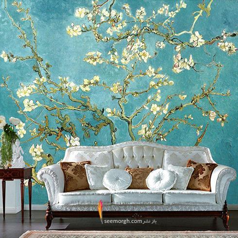 کاغذ دیواری با گلهای بهاری در دکوراسیون داخلی