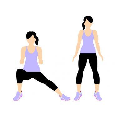 بزرگ کردن باسن,تمریناتی برای بزرگ کردن باسن,روش های بزرگ کردن باسن,راه های بزرگ کردن باسن,حرکت Side Lunge (Left Side) برای بزرگ کردن باسن